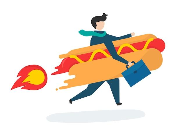 Ilustração de um personagem de negócios com fast food