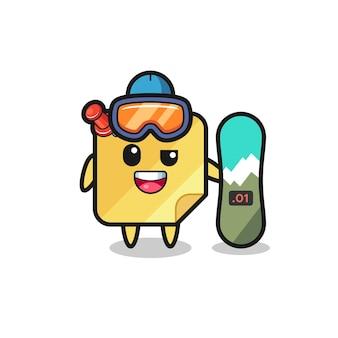 Ilustração de um personagem de notas adesivas com estilo de snowboard, design de estilo fofo para camiseta, adesivo, elemento de logotipo