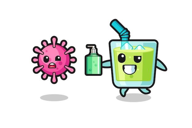 Ilustração de um personagem de suco de melão perseguindo o vírus do mal com desinfetante para as mãos, design de estilo fofo para camiseta, adesivo, elemento de logotipo