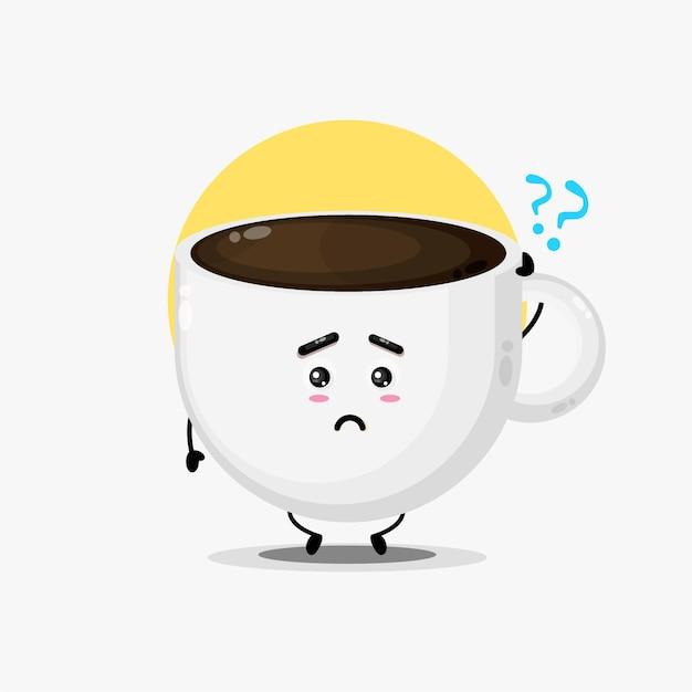 Ilustração de um personagem fofo de café sendo confundido