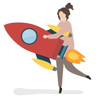Ilustração, de, um, personagem, lançamento, com, um, foguete