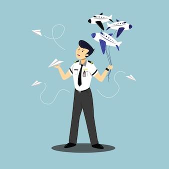 Ilustração de um personagem piloto