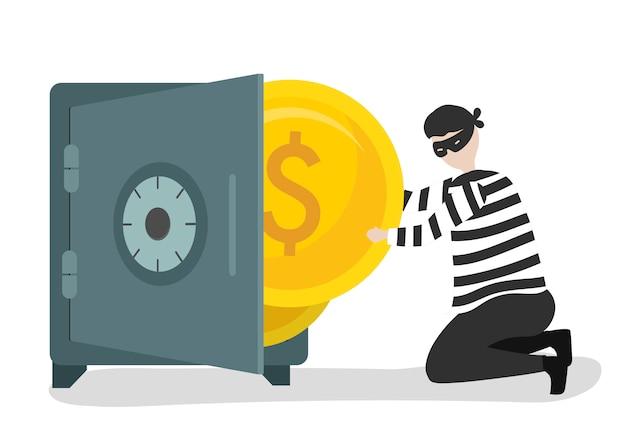 Ilustração de um personagem roubando dinheiro