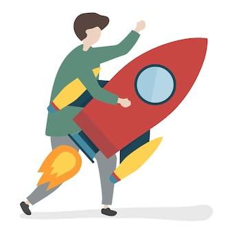 Ilustração, de, um, personagem, segurando, um, foguete