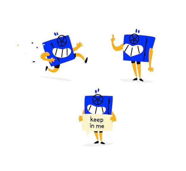 Ilustração de um personagem seguro bonito dos desenhos animados. situações e emoções diferentes.