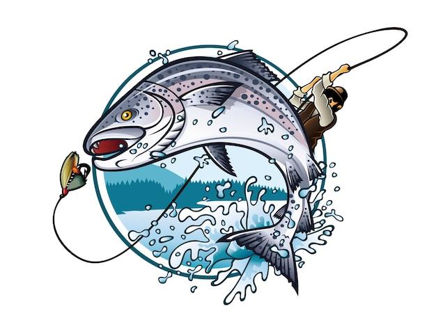 Ilustração de um pescador está puxando a vara de pescar enquanto salmão pulando para pegar a isca