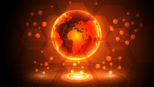 Ilustração de um planeta terra futurista com elementos de hud