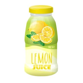 Ilustração de um plástico, garrafa de vidro com uma tampa e uma imagem de um limão.