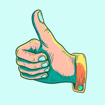Ilustração, de, um, polegares cima, ícone