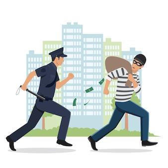 Ilustração de um policial perseguindo um ladrão com saco roubado