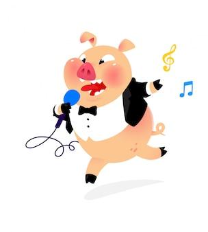 Ilustração de um porco com um microfone e em um casaco de cauda.