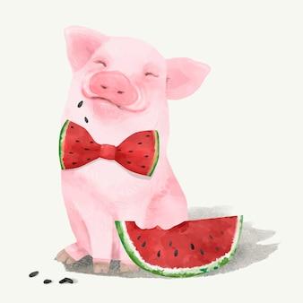 Ilustração, de, um, porquinho