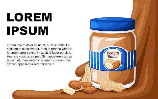 Ilustração de um pote de manteiga de amendoim, pão e manteiga