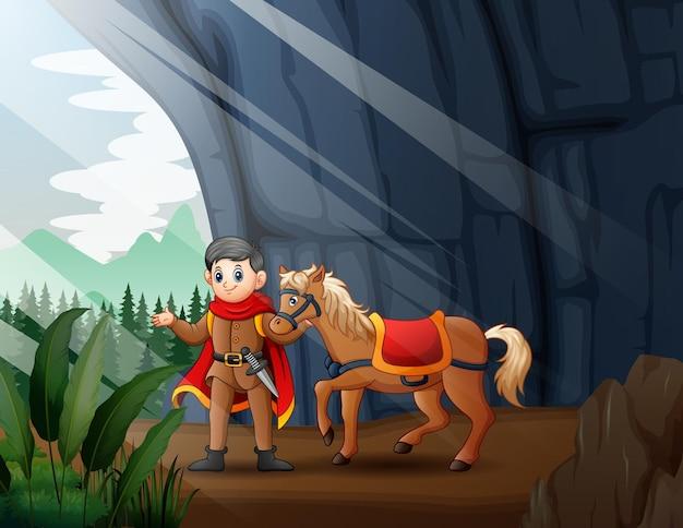 Ilustração de um príncipe e seu cavalo na entrada da caverna