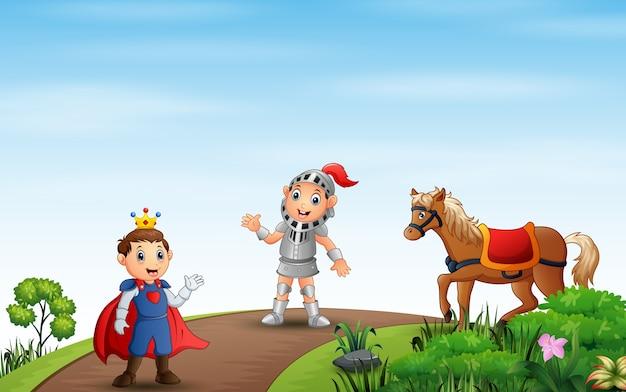 Ilustração de um príncipe e um cavaleiro caminhando na estrada