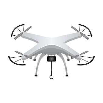 Ilustração de um quadricóptero cinza com uma pequena câmera. dispositivo moderno.