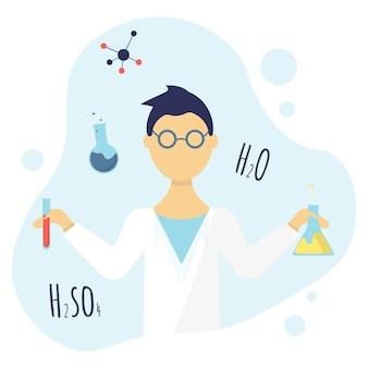 Ilustração de um químico masculino de óculos e um cientista de jaleco branco com frascos nas mãos