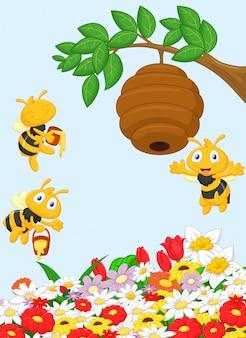 Ilustração de um ramo de uma árvore com uma colméia e uma abelha