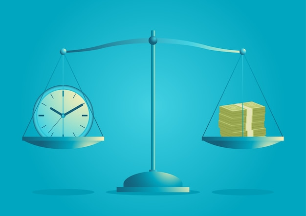 Ilustração de um relógio e notas de banco em escala