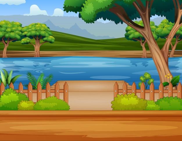 Ilustração de um rio perto da estrada
