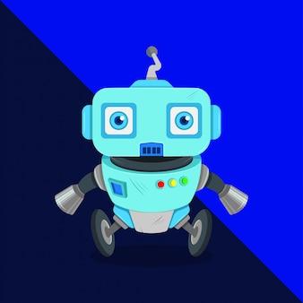 Ilustração de um robô de limpeza com vácuo andando na roda