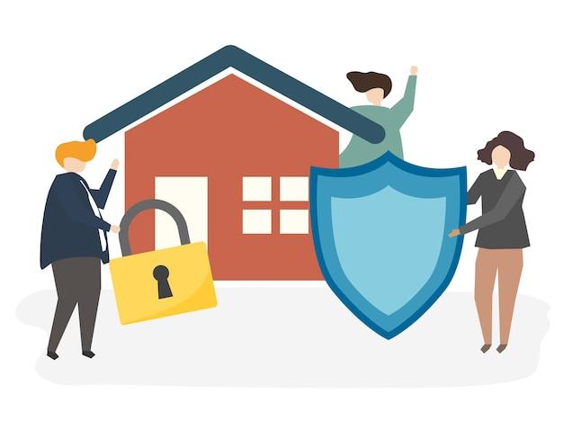 Ilustração de um seguro de casa