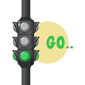 Ilustração de um semáforo com luz verde