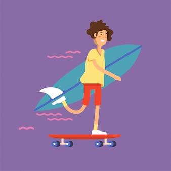 Ilustração de um skatista de menino andando de skate e segurando a prancha de surf.