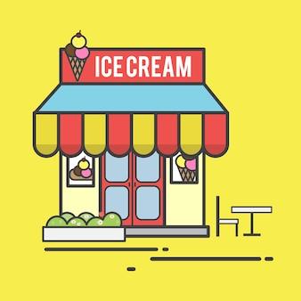 Ilustração, de, um, sorveteria