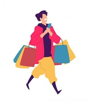 Ilustração, de, um, sujeito jovem, com, compras