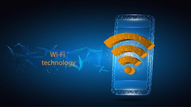 Ilustração de um telefone celular com símbolo de tecnologia wi-fi.