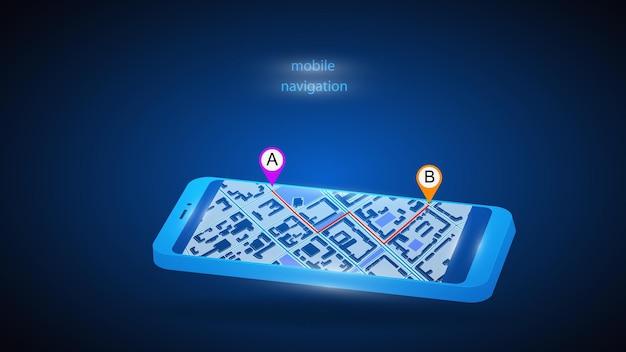 Ilustração de um telefone celular com um aplicativo para navegação móvel.