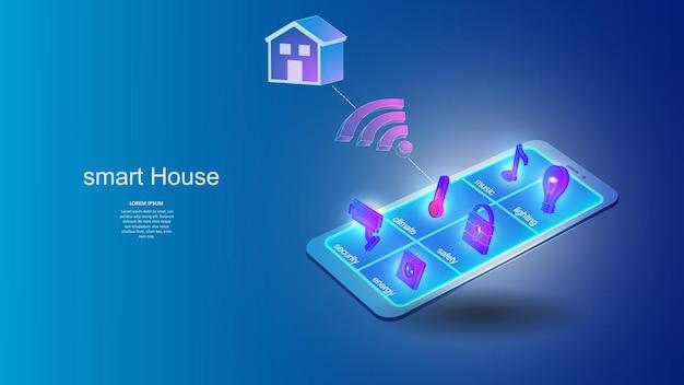 Ilustração de um telefone móvel com elementos do sistema de casa inteligente.