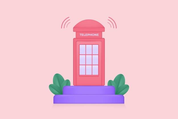 Ilustração de um telefone público em um pódio com plantas e som de inspiração