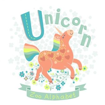 Ilustração de um unicórnio arco-íris em estilo cartoon