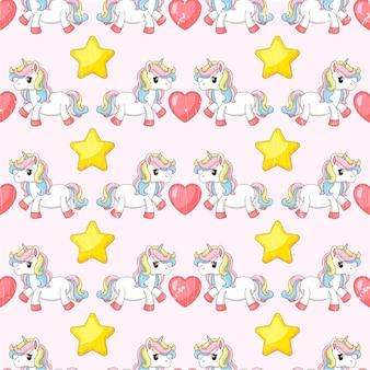 Ilustração de um unicórnio com corações e estrelas.