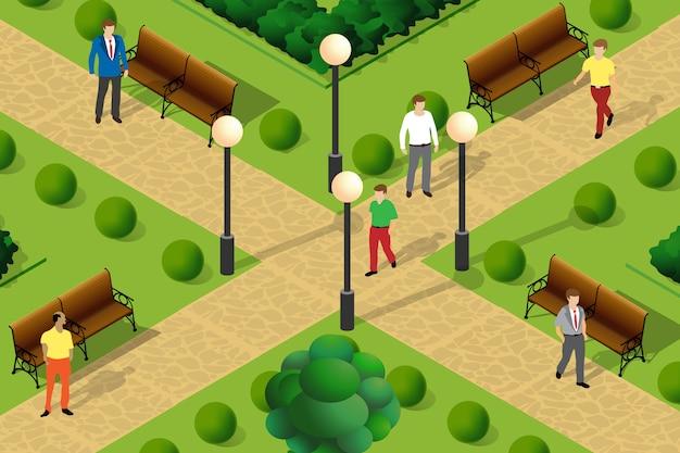 Ilustração, de, um, urbano, parque