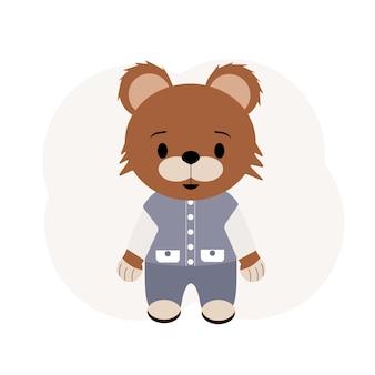 Ilustração de um ursinho de pelúcia em calças e colete