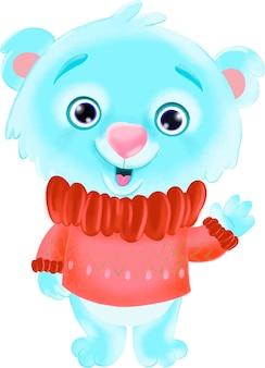 Ilustração de um urso azul fofo com um suéter vermelho de natal acenando com a pata olá