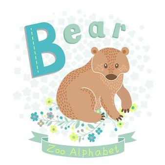 Ilustração de um urso bonito no estilo cartoon.