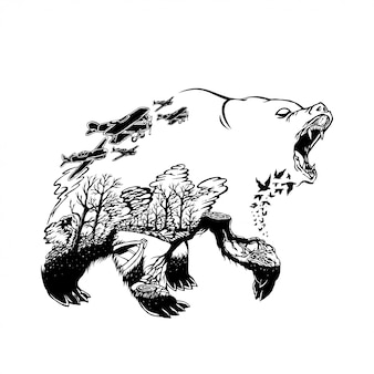Ilustração de um urso com fundo de incêndios florestais