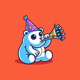Ilustração de um urso fofo comemorando um aniversário ou ano novo tocando uma trombeta