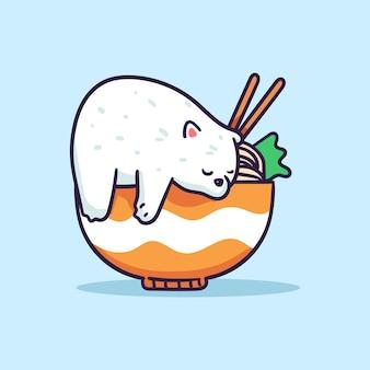 Ilustração de um urso polar fofo dormindo em uma tigela de ramen