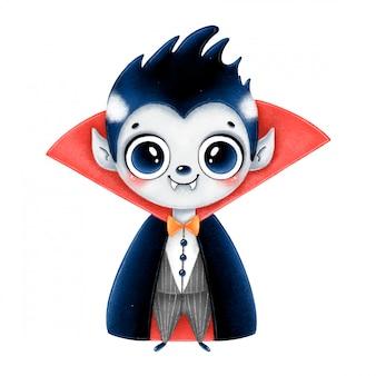 Ilustração de um vampiro jovem de halloween bonito dos desenhos animados em uma capa vermelha isolada