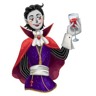 Ilustração de um vampiro para o dia das bruxas. drácula está de pé com um copo de sangue na mão, sorrindo presas em uma capa medieval
