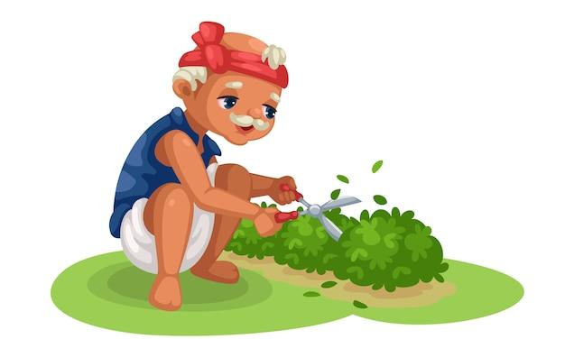 Ilustração de um velho jardineiro fofo cortando arbustos