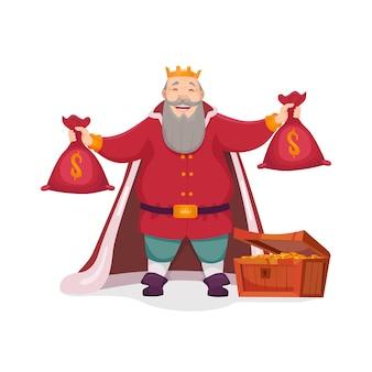 Ilustração de um velho rei de pé na câmara do tesouro e segurando sacos de ouro nos braços. emoção gananciosa, câmara do tesouro, impostos.