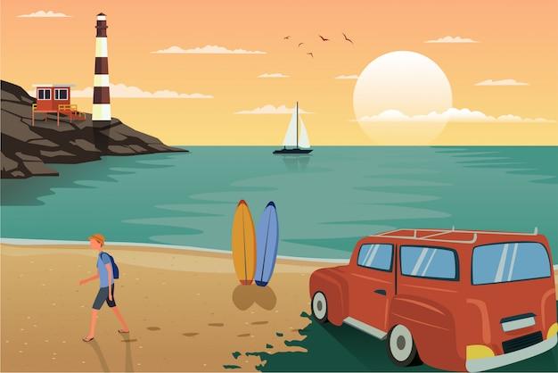 Ilustração de um viajante andando por aí apreciando a vista da praia.