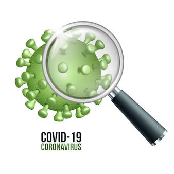 Ilustração de um vírus corona visto com uma lupa