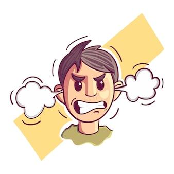 Ilustração, de, um, zangado, homem